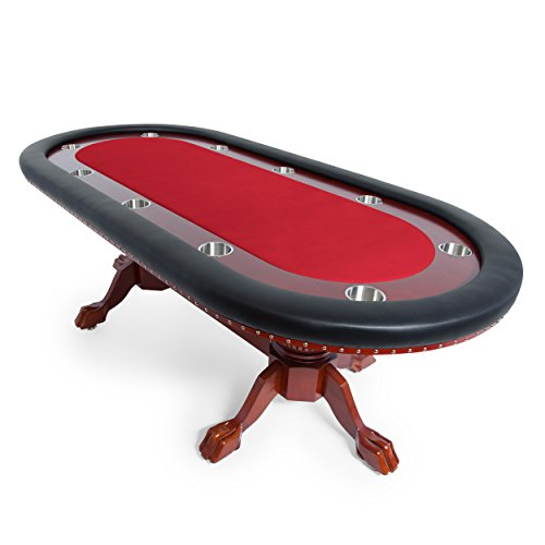 BBO Poker Rockwell Poker Table for 10 Players with Red Felt Playing Surface, 94 x 44-Inch ()