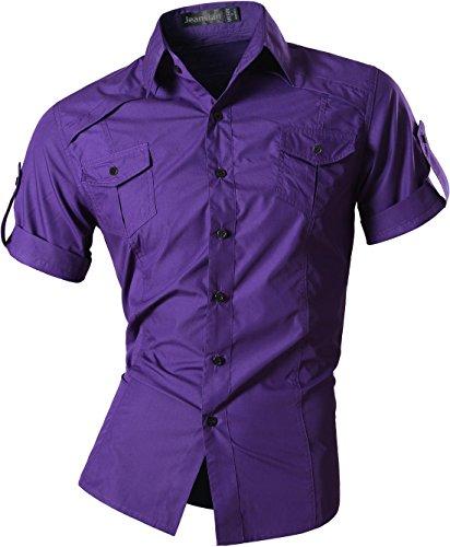 jeansian Homme Chemises Casual Manche Courte Shirt Tops Mode Men Slim Fit 8360 (US M, Purple)