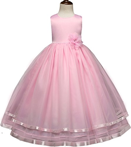 Shiny Toddler Little Girl Princess Wedding Flower Girl Birthday Party Long Dress,4t to 5t(Size Tag=120),Pink -