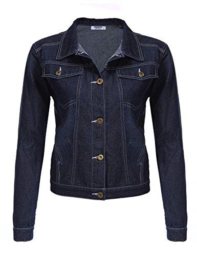 Zeagoo Veste En Jean -Femme-Manche Longue Hiver Blouson Jacket Automne Bouton Uni Bleu Fonc