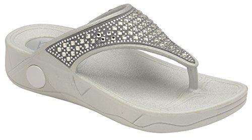 Dunlop Damen Pantoffeln Grau