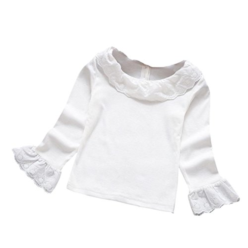 Fineser Little Girl's Spring Peter Pan Collar Long Sleeve Lace Blouse Tops Bottoming Shirt (White, 6 (Little Girls Blouse)