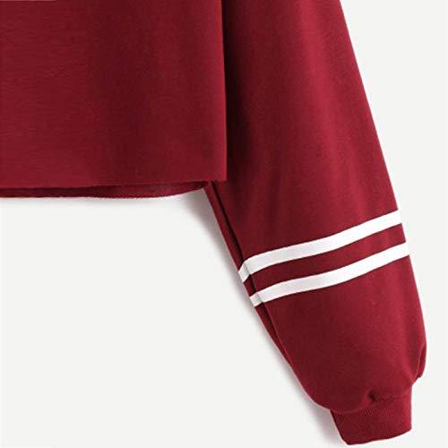 Rosso Donna della Cappotto Shirt di Lettera Maglione Tops di Casual Autunno Stampa Vendita Modo della ABCone del Lunghe Maniche Donne Pullover Elegante T Felpa Camicie Liquidazione Camicette Fx0WTdqv