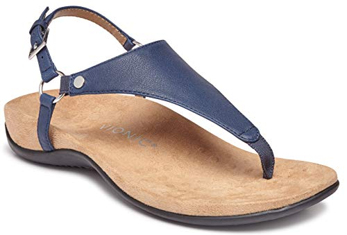 Vionic Women's Rest Kirra Backstrap Sandal - Ladies Sandals with Concealed Orthotic Arch Support Navy 6 W US (Best Ladies Shoes For Bunions)