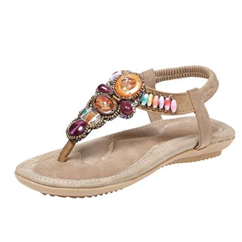 SUKEQ Sandals Women Bohemia Beads Flip Flops Wild Slingback Summer Shoes Casual Beach Flats T Strap Dressy Sandals (7.5 B(M) US, Khaki)