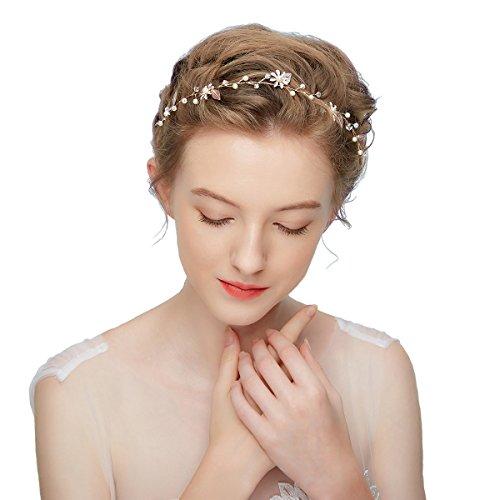 CheerLin Wedding Headband Leaf Flower Pearl Headpieces Bridal Hair Crown Tiara