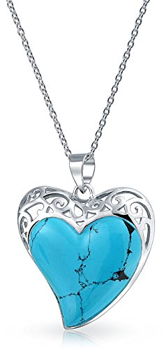 - Large Filigree Inlaid Stabilized Turquoise Heart Shape Pendant Necklace For Women 925 Sterling Silver 1.50 In With Chain
