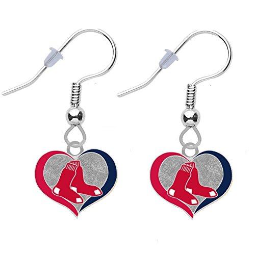 Final Touch Gifts Boston Red Sox Swirl Heart Earrings Pierced
