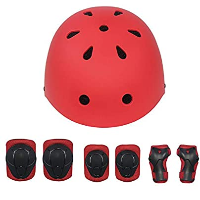 Hxyt Children s helmet set elbow pads knee pads wristband sports helmet suitable for scooters bicycles roller skates skateboards 4-11 years old Red Estimated Price -