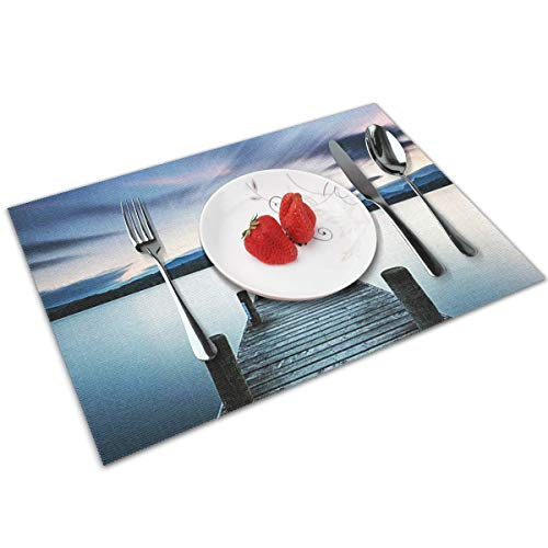 POQQ Placemats for Dining Table The Lake District Ambleside, Washable Easy to Clean PVC Placemat, Heat Resistand Kitchen Dinner Table Mats 12x18 Inches Set of 4
