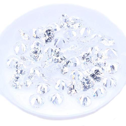 Zirconia Stone Beads 4-10mm Heart-shaped Brilliant Shiny CZ Loose Gems DIY Earrings Necklace Bracelet (10mm 50PCS) ()