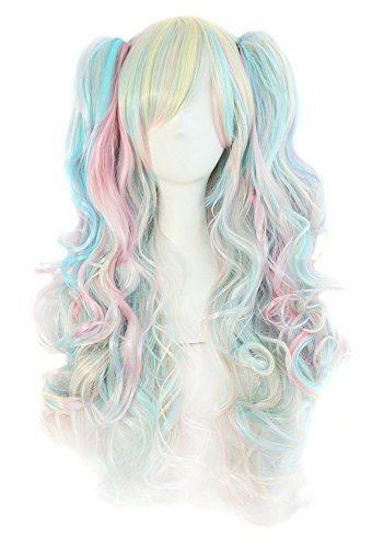 Tsnomore Multi-color Lolita Long Curly Clip on pigtail Cosplay Wig (Blue Pink Yellow Mix) -
