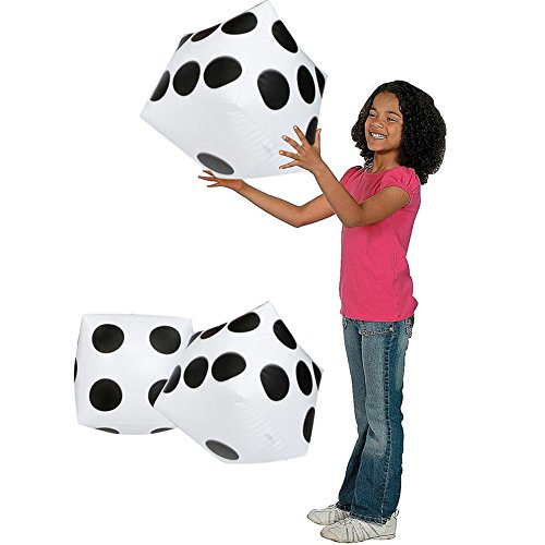Inflatable Dices Handheld Playing Black with White Dots 2 Pieces by OSOPOLA