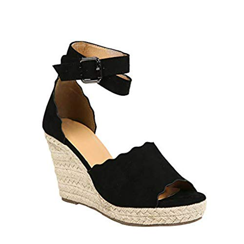 Liyuandian Womens Platform Espadrille Wedges Open Toe High Heel Sandals with Ankle Strap Buckle Up Shoes - Knot Wedge Sandal