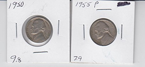 1950 & 1955 Jefferson Nickels (2) Coins Very - Nickel Mintage Jefferson