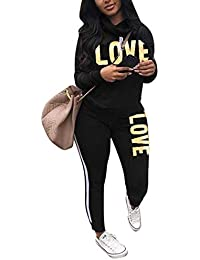802224a87be Women s Letter Print 2 Piece Outfits Cowl Neck Long Sleeve Sweatshirt and  Pants Set Tracksuit