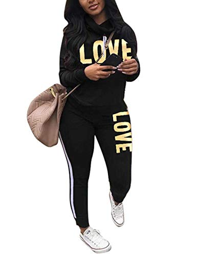 Women's Tracksuit Cowl Neck Long Sleeve Sweatshirt and Sweatpants Set Letter Print 2 Piece Outfits Black M (Sweatpants For Set Women)
