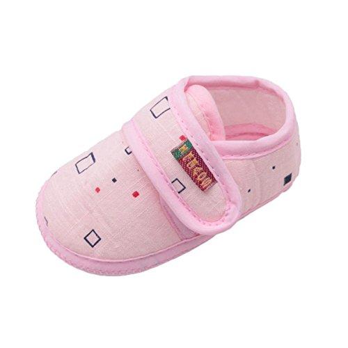Simayixx Newborn Baby Girl&Boy Soft Shoes Soled Non-Slip Block Print Footwear Crib Shoes (0~6 Month, Pink)
