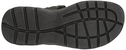 Rockport Mens Ottenere I Tuoi Calci Doppio Velcro Sandalo Piatto In Pelle Nera