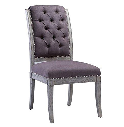 Tov Furniture The Addington Collection Salon Linen Upholstered Button Tufted Oak Frame Side Chair, Grey