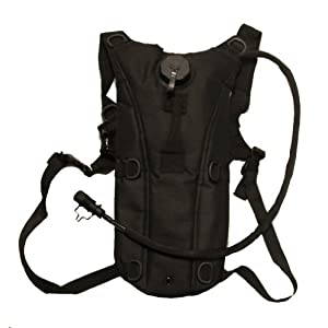 Ultimate Arms Gear Tactical Hydration Bladder Backpack + 2.5 Liter Water Bladder with Hosing, Stealth Black