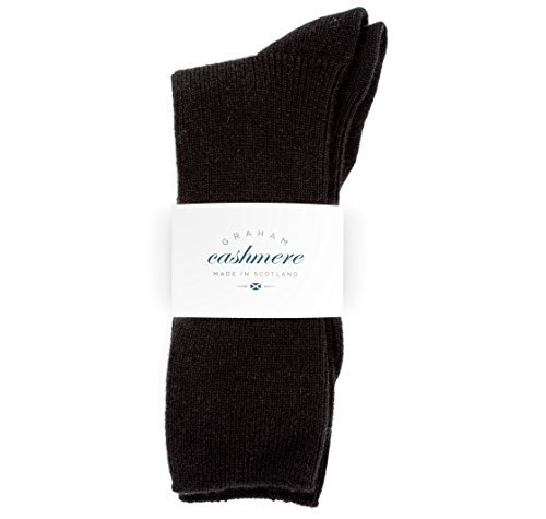 Graham Cashmere Women's Cashmere Rib Socks Gift Boxed One Size Black