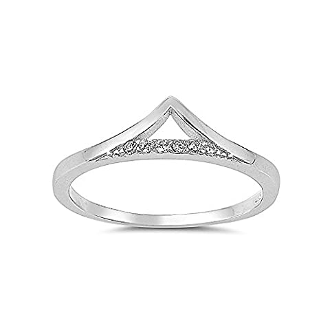 Sterling Silver Clear Cubic Zirconia Chevron Stacking CZ Ring - Size 4 (Chevron Cz Ring)