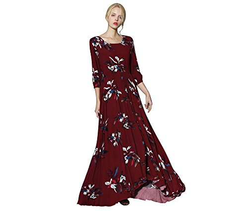 Chicwish Women's Colored Wildflowers Floral Flower Printed Wine Red Ruffle Cotton Maxi Dress