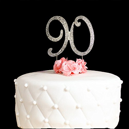 90-Cake-Topper-for-90-Years-Birthday-Or-90TH-Wedding-Anniversary-Gold-Crystal-Rhinestone-Party-Decoration-Gold