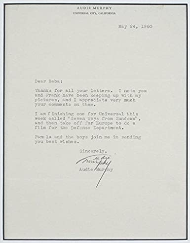 Amazon Com Audie Murphy Typed Letter Signed 05 24 1960