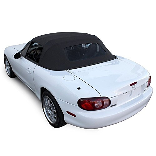 Mazda Miata Convertible Top 1990-2005 One-Piece Non-Zippered Heated Glass Window in Black Cabrio Vinyl (2003 Mazda Miata Convertible Top compare prices)