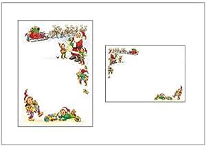 Navidad papel y sobres–Lista de Papá Noel/de Papá Noel con trineo y Elfos–estacional y paquetes de papel (10)