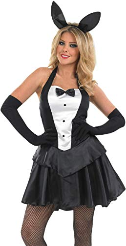 Ladies Sexy Easter Playboy Bunny Girl Rabbit Animal Halloween Fancy Dress Costume Outfit UK 8-26 Plus Size (UK 16-18) Black/White