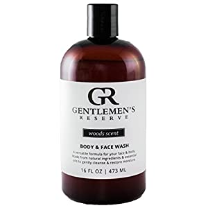 Men's Organic Wash 2 in 1 - Body Wash + Face Wash - All Natural & Organic - Good for Normal, Dry Skin or Sensitive Skin (Woods, 16oz)