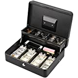 "LIANTRAL Cash Box, Large Size Money Box with Lock and 5 Compartment Tray, 4 Spring-Loaded Clips for Bill(11.8"" x 9.5"" x 3.5""), Black"