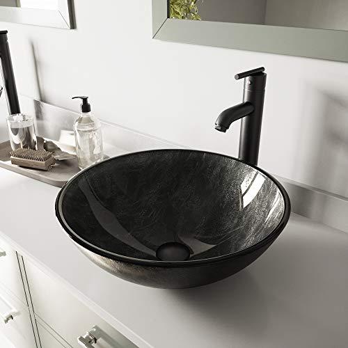 - VIGO Gray Onyx Glass Vessel Bathroom Sink and Seville Vessel Faucet with Pop Up, Matte Black