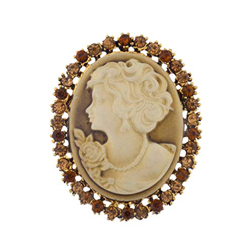 - Lux Accessories Antique Vintage Brown Cameo Brooch Burnished Gold Paver Stones