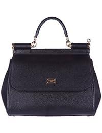 Miss Sicily Black Dauphine Leather Medium Bag Handbag Purse Tote