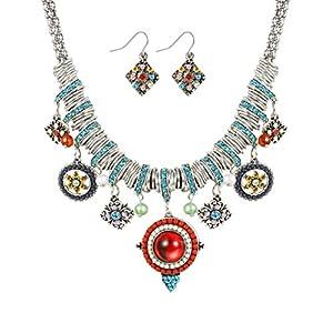 Udalyn Bohemian Jewelry for Women Ethnic Necklace and Retro Rhinestone Earrings Dangle Choker Chain
