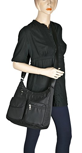 Shoulder Bag Lightweight Suvelle Handbag RFID Travel Carryall Pocket Blocking Protection Negro Crossbody Multi BA10 S0aaxvwq4