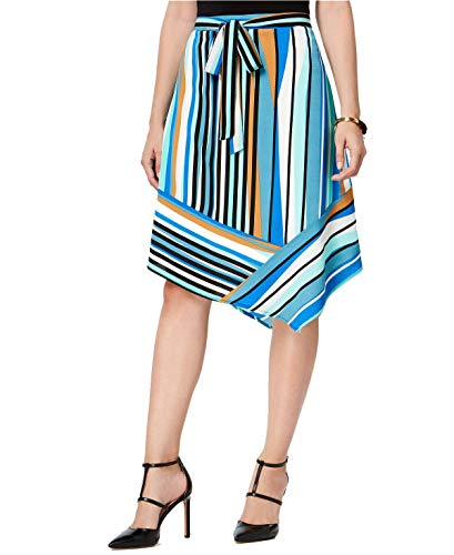 NY Collection Womens Striped Stretch Asymmetrical Skirt Blue M from NY Collection