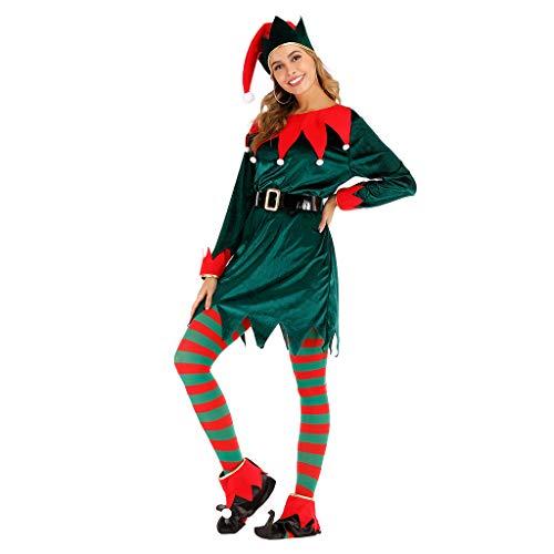 Bambini Da Donna Da Uomo Di Natale Natale Festive Rosso Verde Strisce Sciarpa Elfo Costume