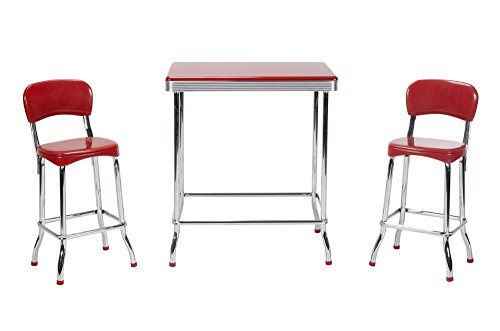 Cosco 14223RED1E Red Retro Chrome 3pc High Top Set, Red (Set Red Table Dining)
