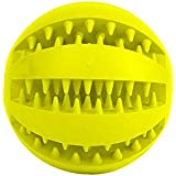 Niome Pet Rubber Ball Chew Treat Dispensing Holder Dog Puppy Cat Toy Training Dental Yellow