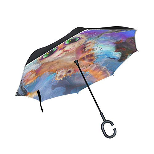 Reverse/Inverted Double-Layer Waterproof Straight Umbrella, Flying Cat Abstract Painting Halloween Self-Standing Carrying Bag for Free Hands C-Shape Handle, Windproof UV Protection,Inside-Out -