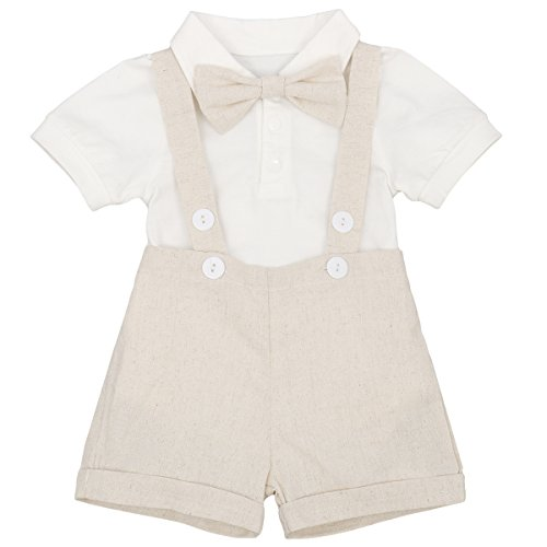 Baby Boys Gentleman Christening Outfit Summer Bowtie Short Sleeve Shirt Romper Jumpsuit Suspenders Strap Adjustable Elastic Braces Shorts Pants Set Ringbearer Clothes Khaki 6-12 Months