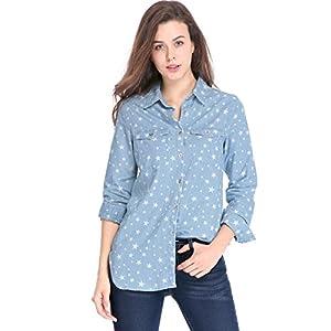 Allegra K Women's Star Button Down Long Sleeve Tunics Denim Shirt