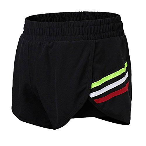 Sanke Women's 2 in 1 Sports Training Running Elastic Shorts with Zipper Pockets, Black/Green, Medium by Sanke