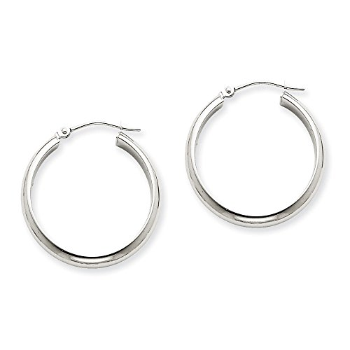 2.75mm x 24mm Polished 14k White Gold Domed Round Tube Hoop - Classic Domed Hoop