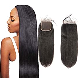 6×6 Lace Closure Straight Wave Free Part Unprocessed Virgin Brazilian Human Hair Lace Pieces With Baby Hair Bleached…